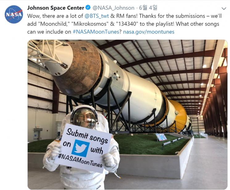 'BTS' 노래 추천에 트위터로 감사 인사 전한 NASA 존슨우주기지 / 사진 = NASA 존슨우주기지 공식 트위터 캡처