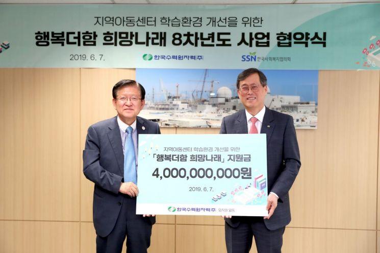 정재훈 한국수력원자력 사장(오른쪽)과 서상목 한국사회복지협의회 회장이 '행복더함 희망나래' 8차년도 협약식을 갖고, 기념촬영을 하고 있다.