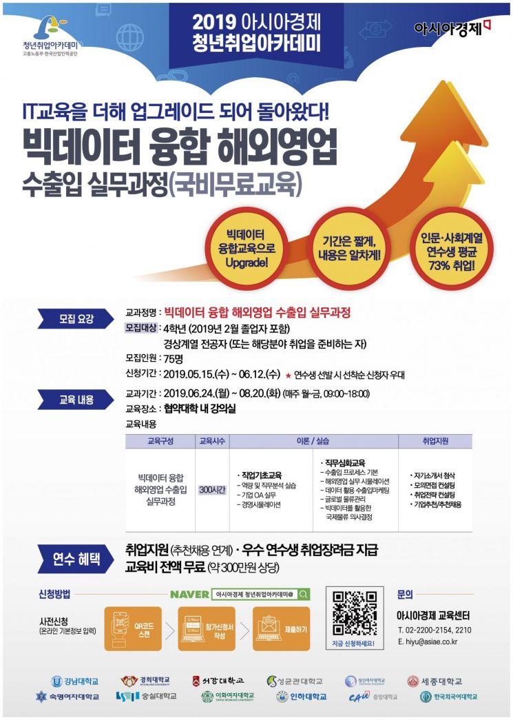 국비무료 고용노동부 청년취업아카데미 인문·사회·상경계열 전공자 연수생 모집