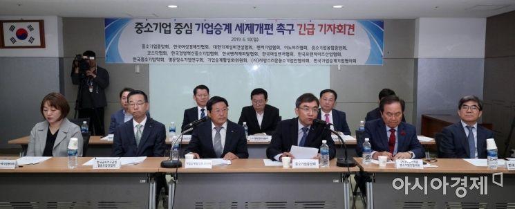 [포토] 중소기업단체, 기업승계 세제개편 촉구 성명 발표