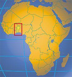 서아프리카에 위치한 베냉(빨간색 사각형 안)