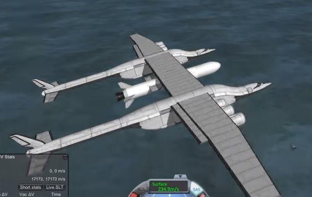 두 동체 사이의 날개부분에 발사체를 적재한 스트래토런치의 시뮬레이션 비행 모습. 고고도에서 발사체를 떨어뜨리면 발사체가 점화해 우주로 날아가게 됩니다. [사진=유튜브 화면캡처]