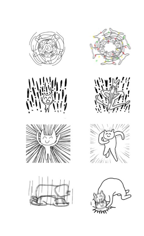 일본 유키 카나이 작가가 2016년 출시한 '슈퍼하이스피리츠캣' 이모티콘(왼쪽)과 띵동 작가의 '즐거우나루' 이모티콘