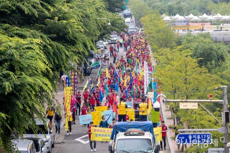 [포토]서울시청까지 행진 나선 청계천 일대 상인들