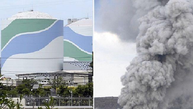 일본 가고시마현 서부 해안지대에 위치한 센다이원전(왼쪽)과 지난달 분화한 센다이원전 근교의 활화산인 아소산의 분화모습(사진=연합뉴스)