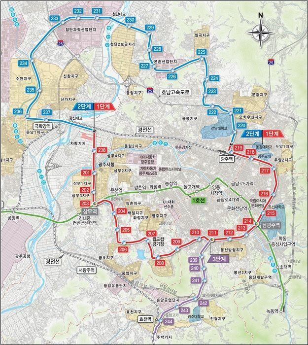 ▲광주도시철도 2호선 노선도(자료: 국토교통부)