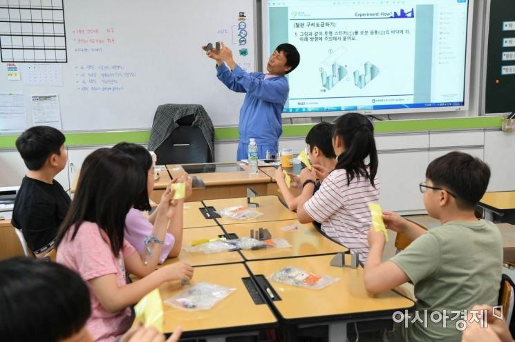 19일 광양마동초등학교에서 열린 주니어 공학교실에서 일일 강사로 참여한 광양제철소 직원이 학생들에게 설명을 하고 있다.(사진=광양제철소 제공)