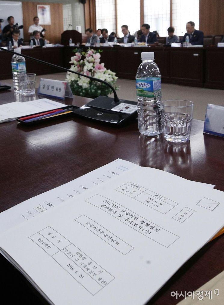 [포토] 회의실에 놓인 공공기관 경영실적 평가결과