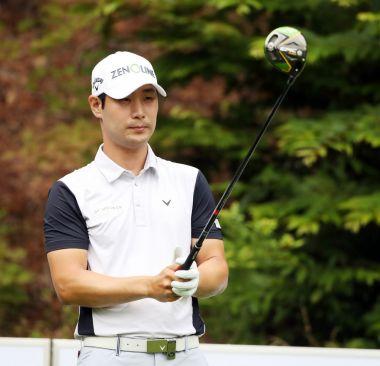 김대현이 코오롱 한국오픈 첫날 11번홀에서 티 샷을 준비하고 있다. 사진=KPGA