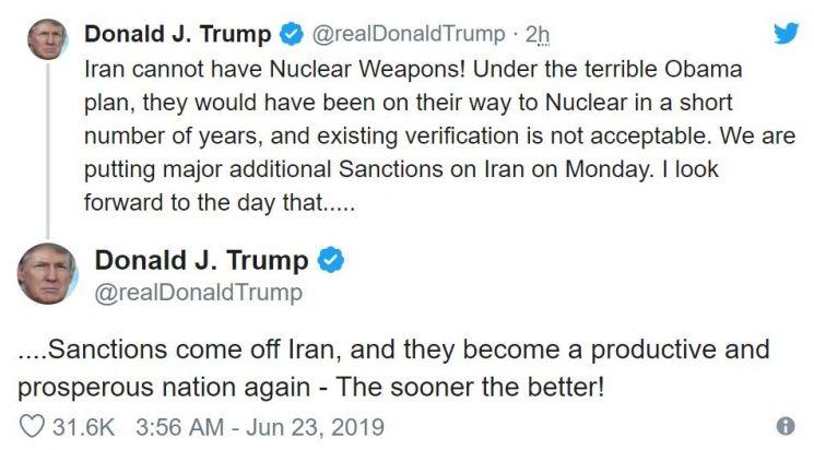 """트럼프 """"24일 이란에 대한 주요 추가제재 발표""""(종합)"""