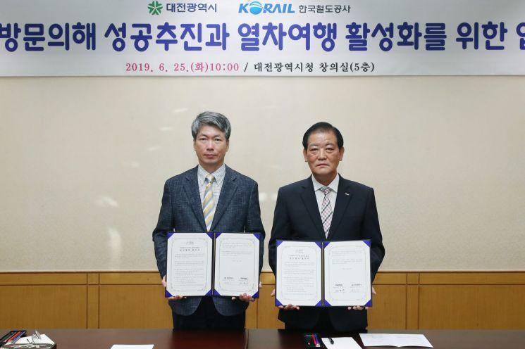 [포토] 대전시-코레일, '대전방문' 열차여행 활성화 협력