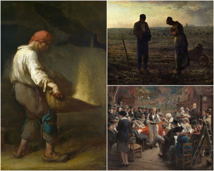 <도판, 왼쪽 세로 그림부터 시계방향으로> 1. 장 프랑수아 밀레,「키질하는 사람」, 1847년~1848년 (100.5×71㎝, 내셔널 갤러리, 영국 런던) 2. 장 프랑수아 밀레, 「저녁종」, 1857년~1859년(55.5×66㎝, 오르세 미술관, 프랑스 파리) 3. 알베르 베타니에, 「파리의 미술품 경매장, 오텔 드루에」, 1921년 (80.6×100㎝, 개인소장)