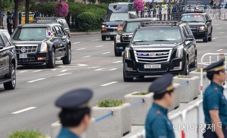 [포토]청와대로 향하는 트럼프 대통령