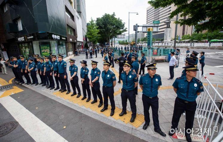 [포토]트럼프 대통령 방한에 경계 강화하는 경찰