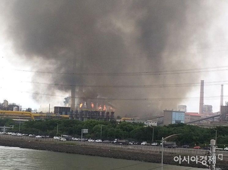 1일 포스코 광양제철소 1코크스에서 정전으로 인해 발생한 화재
