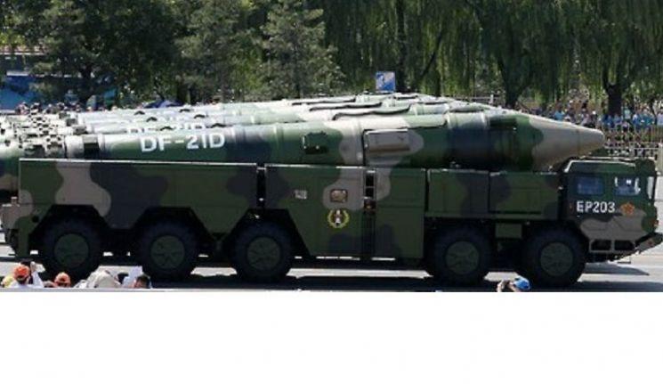 중국의 대함탄도미사일(ASBM) DF-21D의 모습(사진=연합뉴스)