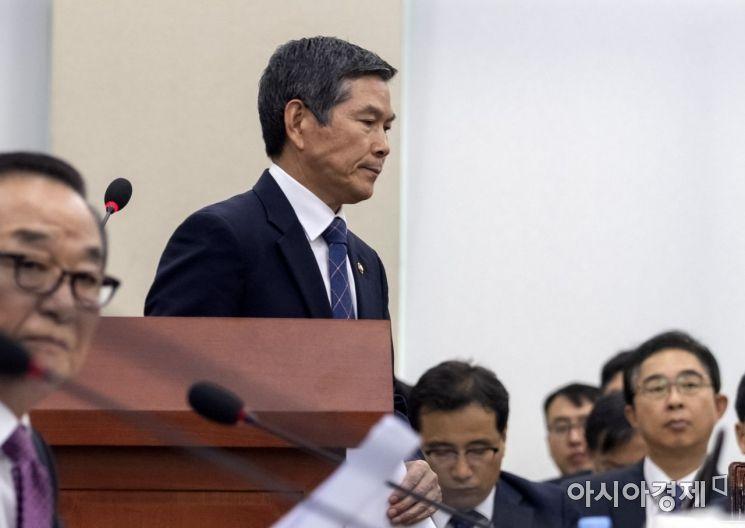 [포토] 굳게 입다문 정경두 국방부 장관