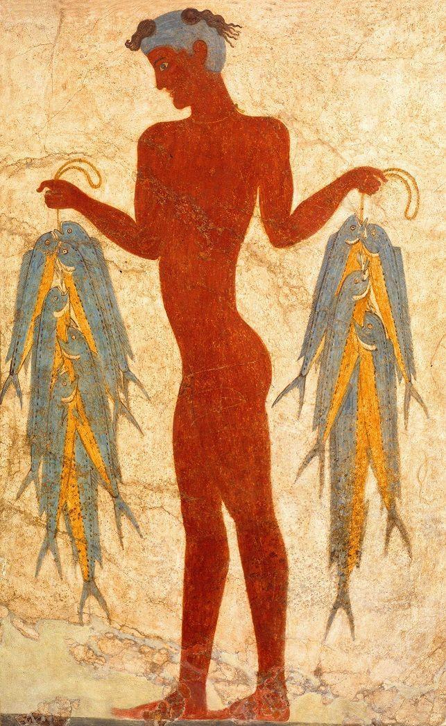 아크로티리의 소년 벽화, 기원전 17세기, 프레스코 석회석고와 안료, 테라 아크로티리 주거지 선사시대 테라 박물관 [사진=그리스 보물전 사무국 제공]