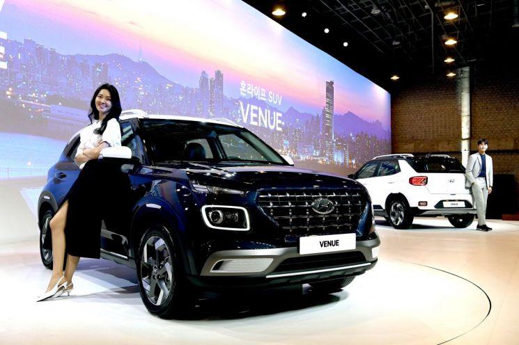 현대자동차가 11일 경기도 용인에 위치한 더 카핑에서 엔트리급 스포츠유틸리티차량(SUV) 베뉴(VENUE)의 공식 출시 행사를 열고 본격 판매에 돌입했다./사진=현대차