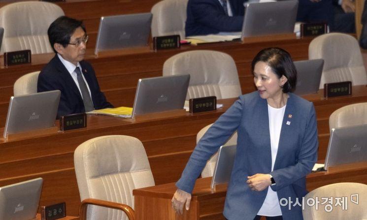 [포토] 본회의 출석하는 유은혜 장관