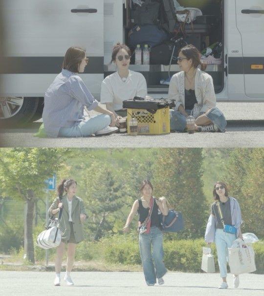 데뷔 21주년을 맞아 14년 만에 다시 모인 그룹 핑클의 모습이 그려졌다/사진=JTBC '캠핑클럽' 화면 캡처