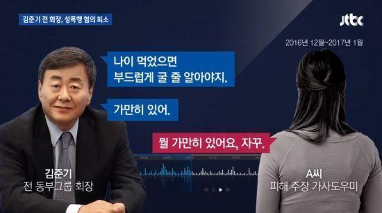 동부그룹 창업주 김준기 전 회장이 가사도우미를 성폭행 한 사실이 드러났다./사진=JTBC 방송 캡쳐