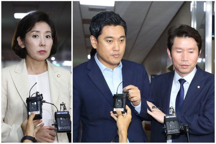 여야 교섭단체 원내대표들이 19일 문희상 국회의장과의 회동에서 합의를 이루지 못하고 나오고 있다.(사진=연합뉴스)