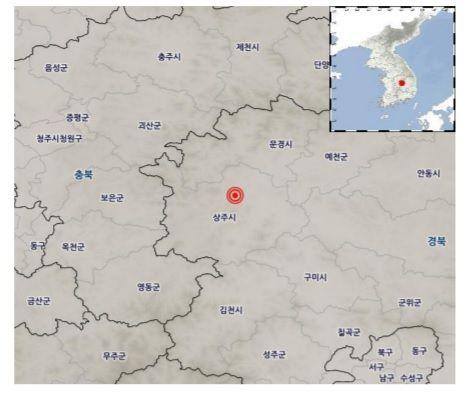 21일 오전 11시4분 경북 상주시 북북서쪽 11㎞ 지역에서 규모 3.9 지진이 발생했다. (제공=기상청)