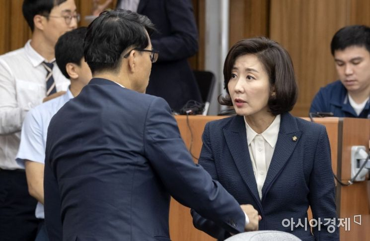 [포토] 인사 나누는 나경원·윤상현