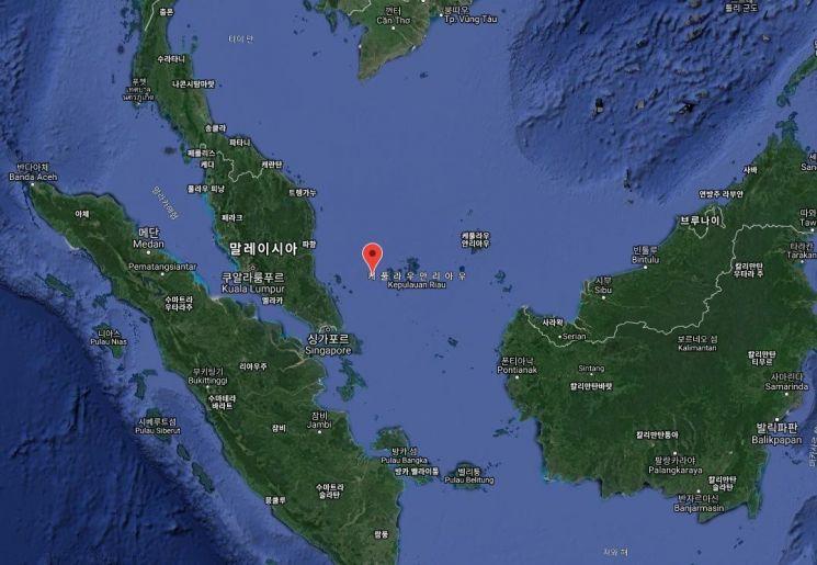 22일 오전  한국 국적 화물선 씨케이블루벨호가 해적들로부터 공격을 받은 지점(붉은색 표시)인 말라카 해협 일대는 예로부터 해적들의 소굴로 유명하다(자료= 국제해사국(IMB)의 해적발생신고센터(Piracy Reporting Centre) 홈페이지/ www.icc-ccs.org)
