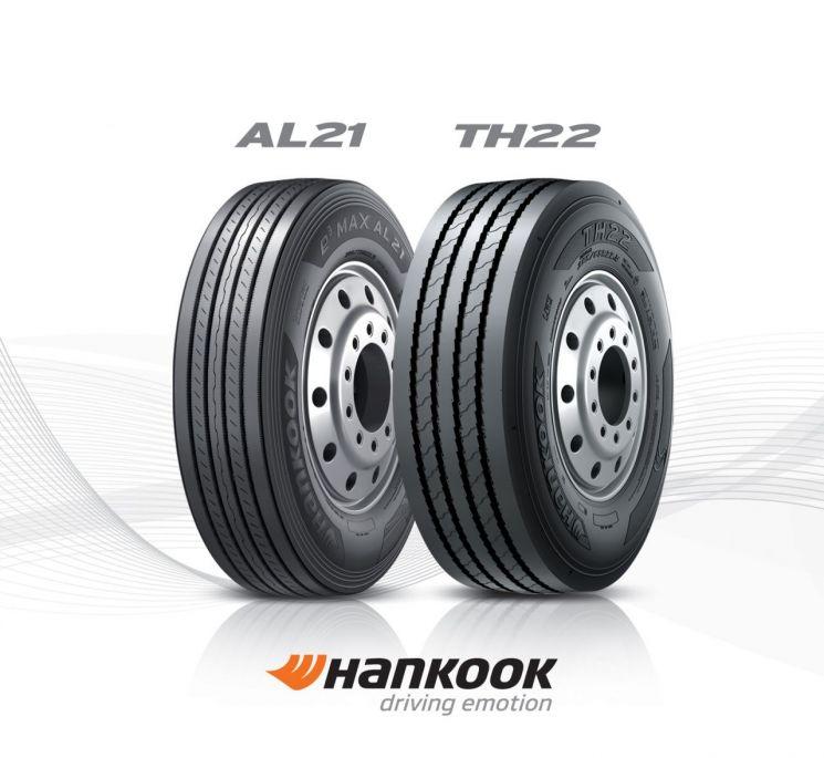 한국타이어앤테크놀로지가 캐나다 운송회사 '챌린저 모터 프레이트'에 공급하는 트럭용 타이어(사진=한국타이어앤테크놀로지)