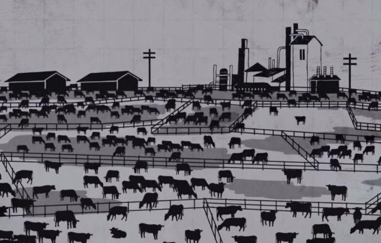 콩 등 식물성 단백질을 생산하면서 발생하는 온실가스 양보다 같은 양의 쇠고기를 생산하면서 발생하는 온실가스 배출량이 최대 50배나 더 많습니다. [그림=유튜브 화면캡처]