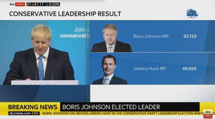 '영국의 도널드 트럼프'라는 별명이 붙은 보리스 존슨 전 외무주 장관이 23일(현지시간) 새 총리로 당선됐다. 사진=스카이뉴스 라이브 화면 캡처