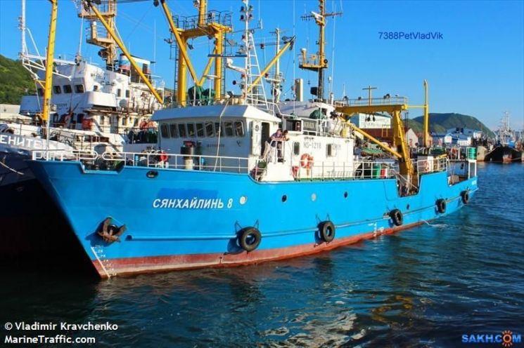 한국인 선원 2명이 탔던 러시아 국적의 300t급 어선 '샹 하이린 8호'. 기관 고장으로 표류 중 북측 동해상으로 넘어가 북한 당국에 단속됐었다. <사진=마린트래픽 홈페이지 캡처>