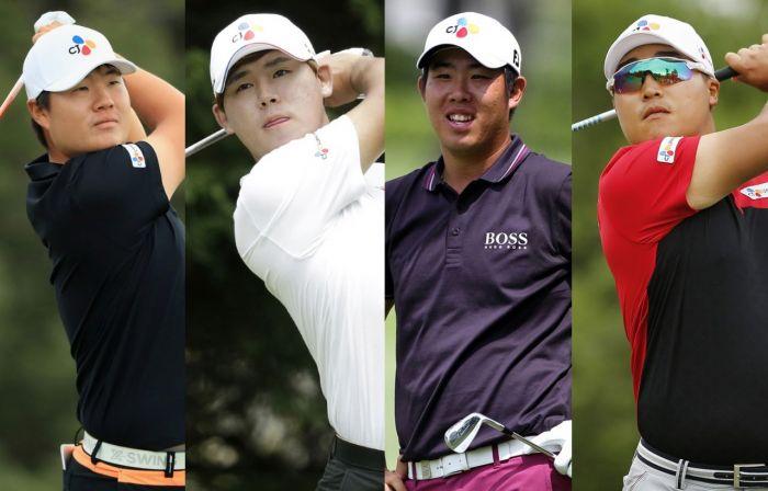 임성재와 김시우, 안병훈, 이경훈(왼쪽부터)이 2019시즌 최종전 윈덤챔피언십에서 'PO 랭킹' 끌어 올리기에 나선다.