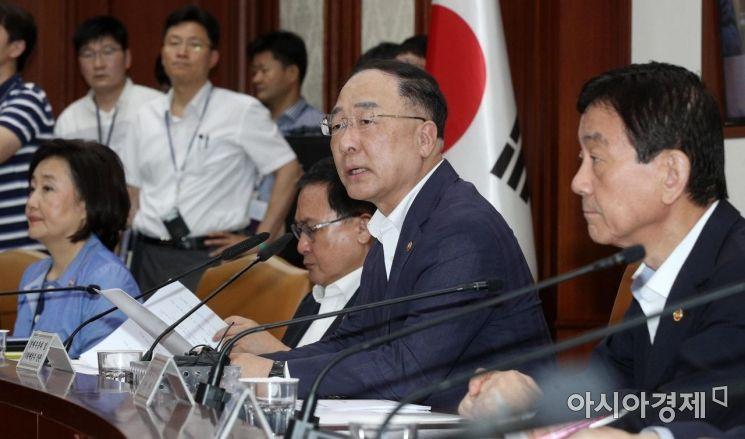 [포토] 日 수출규제 대응 회의 주재하는 홍남기 부총리