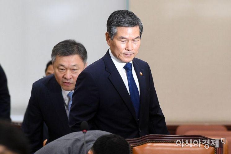 [포토]회의실 들어서는 정경두 국방장관