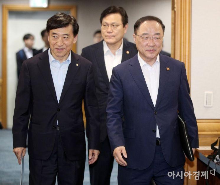 [포토] 긴급 거시경제금융회의 참석하는 부총리와 한은총재