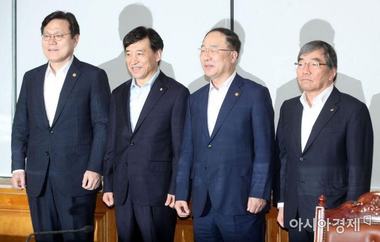 [포토] 거시경제금융회의 참석한 홍남기-이주열-최종구