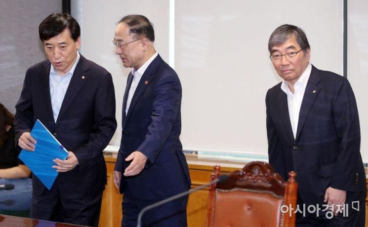 [포토] 거시경제금융회의 참석하는 홍남기-이주열