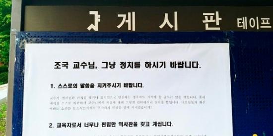 서울대 학내 게시판에 '조국 교수님, 그냥 정치를 하시기 바랍니다'라는 제목의 대자보가 붙은 모습./사진=서울대 트루스 포럼 페이스북