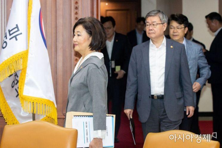 [포토]회의실 들어서는 박영선 장관-이재갑 장관