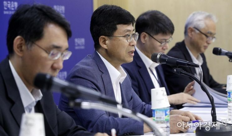 [포토] 통화신용정책보고서 설명하는 박종석 부총재보
