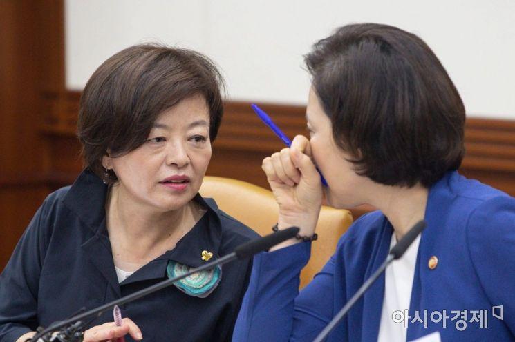 [포토]의견 나누는 유은혜 부총리-진선미 장관