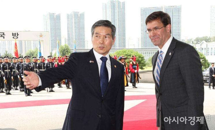 [포토]회담 앞서 사열 받는 한미 국방장관