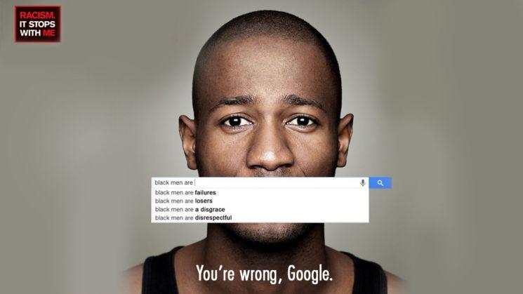 구글의 인종차별적 검색 알고리즘을 고발한 루마니아의 광고. 사진 = andrei-ivascu