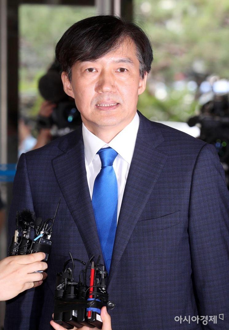 조국 법무부 장관 후보자가 9일 인사청문회 준비 사무실이 마련된 서울 종로구 적선현대빌딩에서 소감을 밝히고 있다. /문호남 기자 munonam@