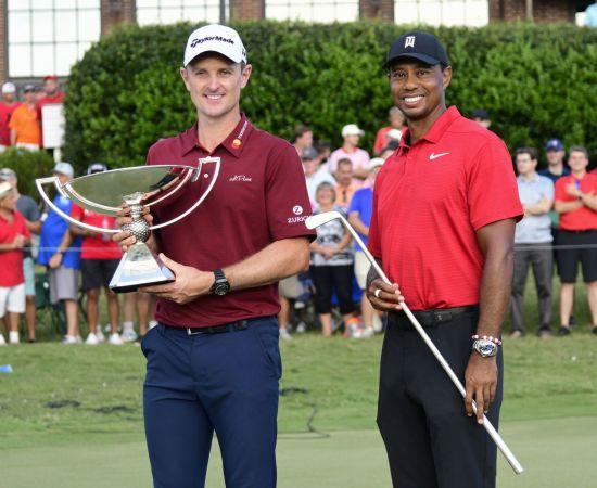 저스틴 로즈는 지난해 PO에서 우승없이 최종 챔프에 등극하는 행운을 얻었다. 오른쪽은 투어챔피언십 우승자 타이거 우즈.