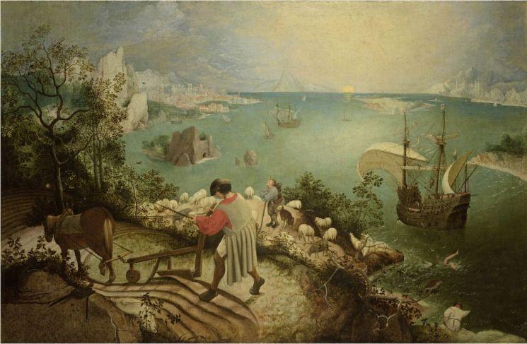 '이카로스의 추락', 1560년경(73.5x112㎝, 벨기에 왕립 미술관, 벨기에 브뤼셀)