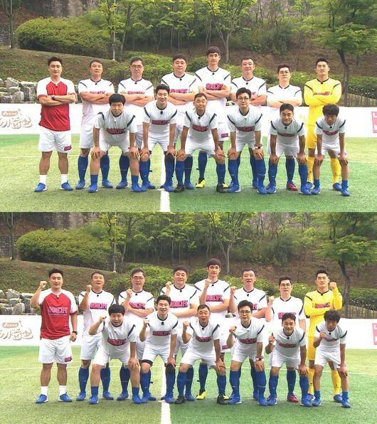어쩌다FC가 창단 이후 처음으로 팀 유니폼을 공개했다./사진=JTBC '뭉쳐야 찬다'